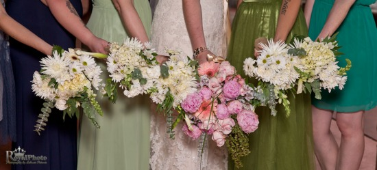 Wedding bouquets of flowers