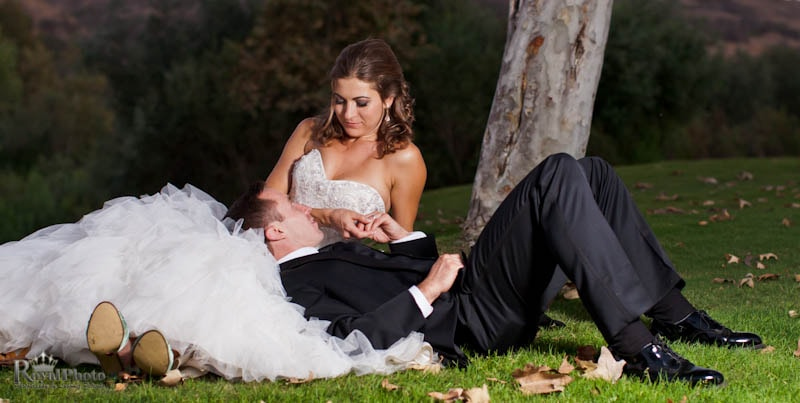Newlyweds portrait in grass
