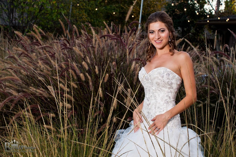 Portrait of the bride and decorative grasses