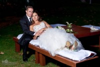 Newlyweds relaxing on the bench